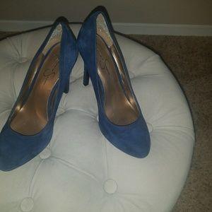 Beautiful blue suede pumps